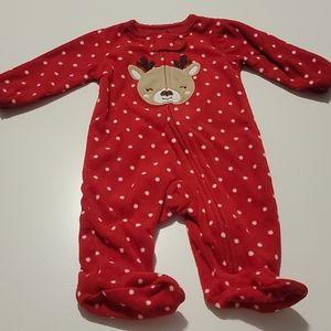 Carter's Deer polka dot fleece zip sleep and play